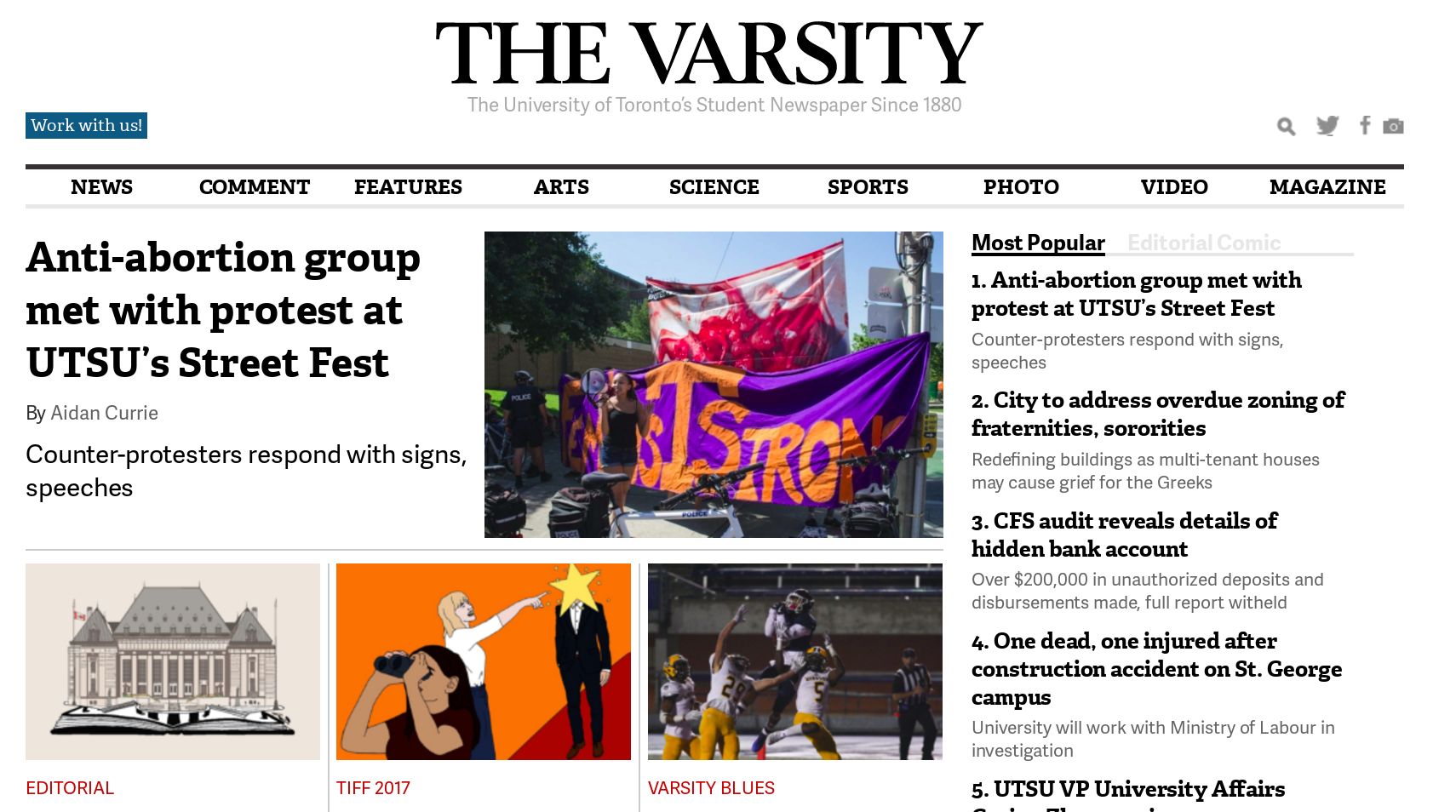 TheVarsity.ca screenshot of front page article about UTSFL